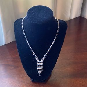 Women's Blue and Silver Rhinestone Necklace